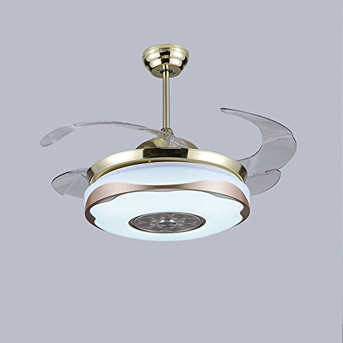 AorakiLights Gold And White Ceiling Fans With LED Variable Lights Modern Retractable Blades Remote Control 42 Inch Chandelier Bedroom Kitchen Library Living Meeting Room For Sale
