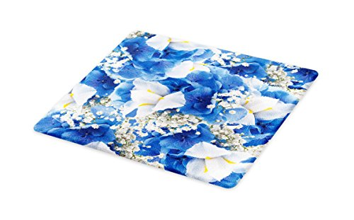 - Lunarable Floral Cutting Board, Flower Bouquet with Hydrangeas and Irises Blossoms Buds Springtime Summer Design, Decorative Tempered Glass Cutting and Serving Board, Small Size, Blue White