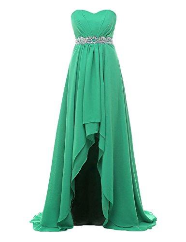 Robes De Mariée Asymétriques Femmes Dys Robes De Fête Sweetheart En Mousseline De Soie Plissée Verte