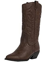Soda Women's Reno Western Cowboy Pointed Toe Knee High Pull On Tabs Boots