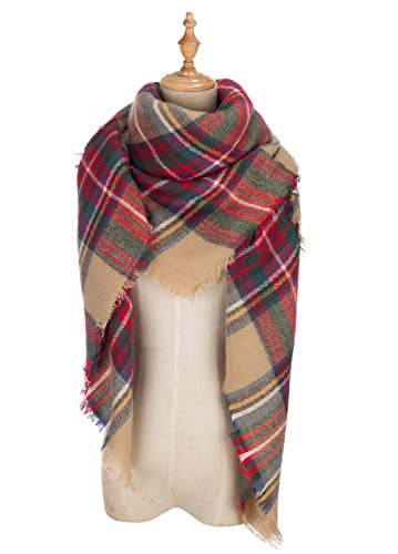 41Jrov2sf0L - DEARCASE Women's Tassels Soft Plaid Tartan Scarf Winter Large Blanket Wrap Shawl
