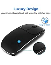 Zienstar-Ultra Thin Rechargeable Wireless Mouse with USB Receiver,Silent Click, Aluminum Alloy Top Shell,600Mah Lithium Battery for MacBook,Laptop and Computer PC