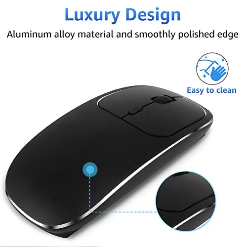 Zienstar-Ultra Thin Rechargeable Wireless Mouse with USB Receiver,Silent Click, Aluminum Alloy Top Shell,600Mah Lithium Battery for MacBook,Laptop and Computer PC (Black)