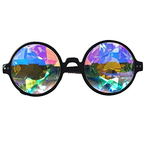 STLY Kaleidoscope Rainbow Glasses Prism Refraction Goggles for Festivals and Rave Black Frame