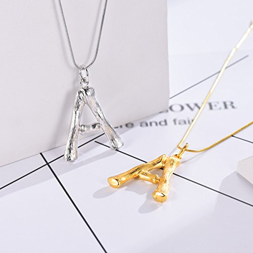 FOCALOOK-DIY-26-Letter-Charm-Bamboo-Pendants-Women-GoldPlatinum-Plated-Snake-Chain-Initial-Necklace