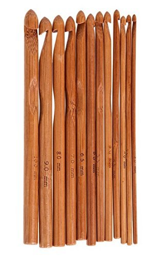 "ZXUY 12pcs 6"" Bamboo Handle Crochet Hook Knitting"