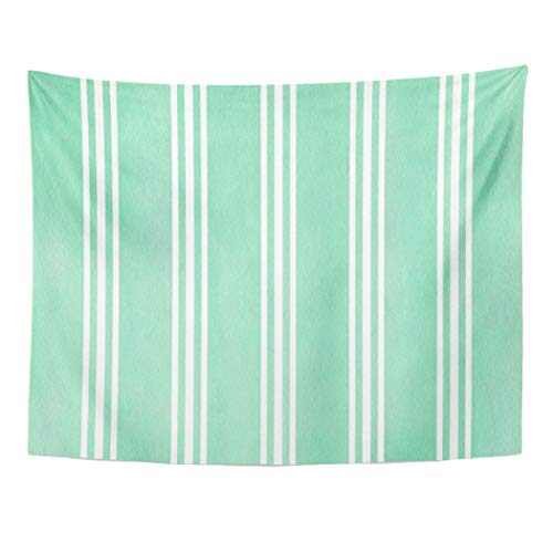 Tarolo Decor Wall Tapestry Azure Watercolor Seafoam Blue Striped Brush Classic Color Elegant 60 x 50 Inches Wall Hanging Picnic for Bedroom Living Room Dorm