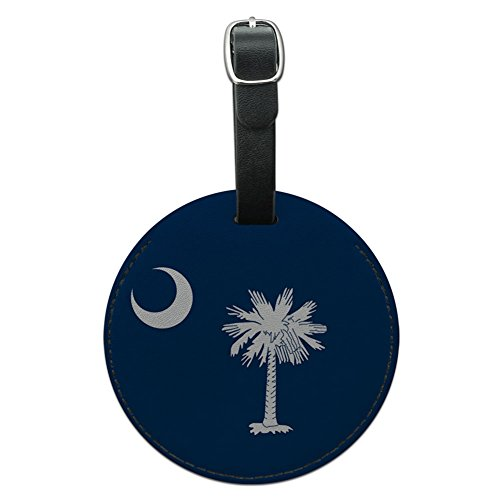 South Carolina Black Leather (Graphics & More South Carolina State Flag Round Leather Luggage Id Tag Suitcase Carry-on, Black)