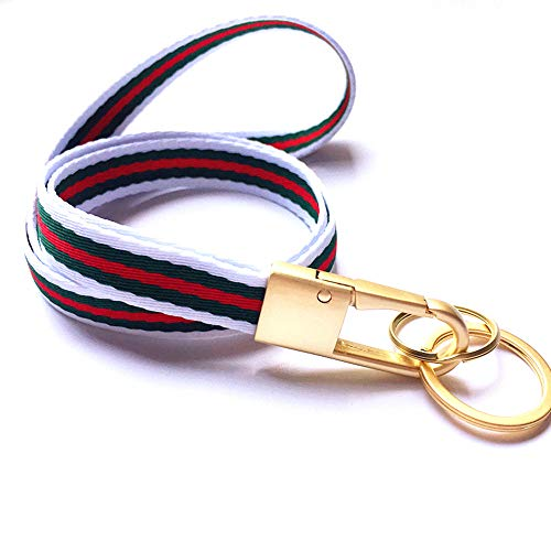Stripe Fabric Neck Lanyard Key Chain (with 2 Key Rings), Luxury Golden Heavy Duty Metal Car Keychain with Classical Soft Stripe Fabric Lanyard for Man and Women (White/Green/Red)