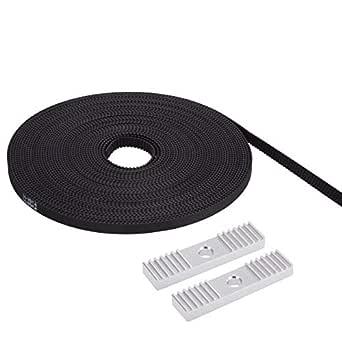 PChero - Cinturón de distribución de 5 metros, 6 mm de ancho, GT2 + 2 correas de distribución 2GT de aluminio, paquete de montaje de abrazadera de engranaje