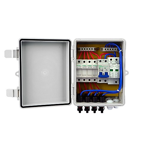 Fisters 4-String Solar Combiner Box 10A Circuit Breaker Control for Solar Panel ()