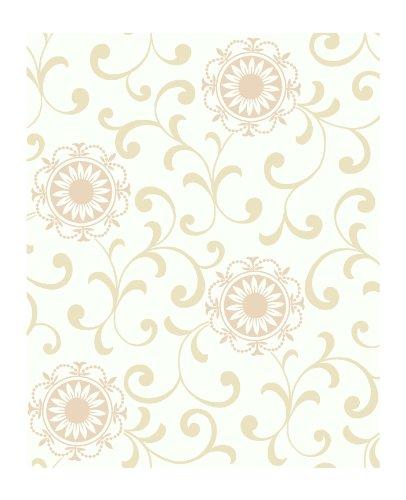 Blush Medallion (York Wallcoverings AP7456 Silhouettes Daisy Medallion With Scrolls Wallpaper, White/Blush Pink/Beige)