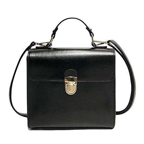 - JJLIKER Women Leather Handbags Totes Zipper Soild Crossbody Shoulder Messenger Pack Square Flap Bag Wallets