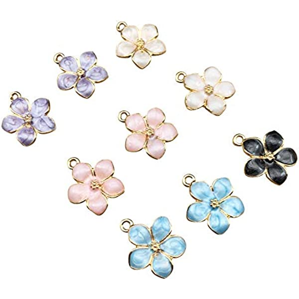 Bulk 50PC Mixed Enamel Crystal Flower Charm Pendant For DIY Earrings//Bracelet