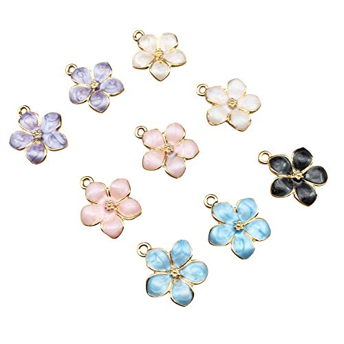 SANQIU 30PCS Mixed Color Enamel Flower Charm for Jewelry Making and Crafting