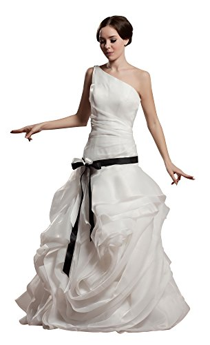 Vogue007 Womens One Shoulder Satin Pongee Wedding Dress with Fold, ColorCards, 16 by Unknown