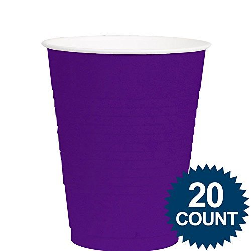 Amscan Party Ready Reusable Plastic Cups (20 Piece), Purple, 3.4 x 3.4""