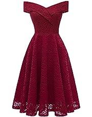 LA ORCHID Laorchid Mode Damen Spitze Abendkleider Brautjungfern Kleid Cocktail Party Ärmlos Bootskragen Vintage