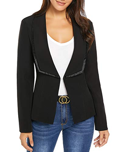 Vetinee Ladies Shawl Lapel Blazer Business Open Front Jacket Suit Solid Black Size X-Large (Fit US 16-US 18) (Jacket Holiday Womens)