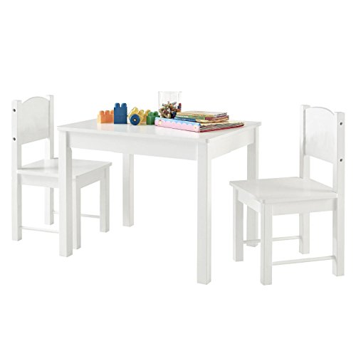 Kid's Table and 2 chairs Set Solid Hard Wood sturdy child table and chairs White by BB shop