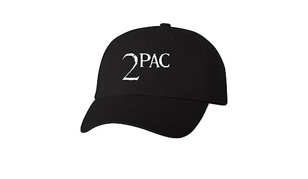403938f6328 TShirtGuys 2Pac White Logo Dad Hat Thug Life Adjustable Baseball Cap Black  at Amazon Men s Clothing store