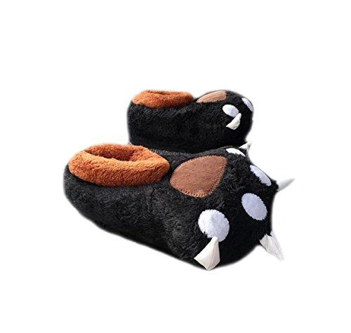 d'hiver Black de peluche coton chaussons griffes en de ours chat palm douces Pantoufles nRUa7x6a