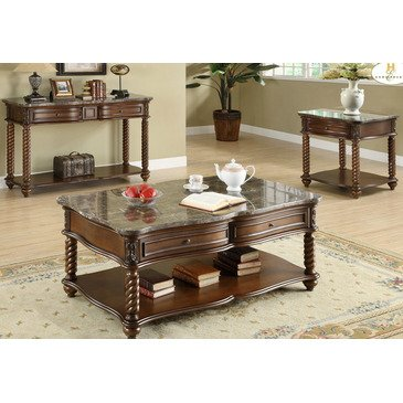 Homelegance Set Coffee Table - Homelegance Lockwood 3 Piece Rectangular Coffee Table Set w/ Marble Top