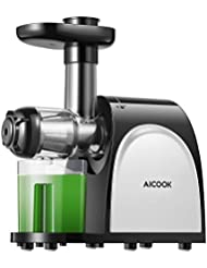AICOOK Juicer, Slow Masticating Juicer, Cold Press Juicer Machine, Higher Juicer Yield, and Drier Pulp, Juice Extractor with Quiet Motor and Reverse Function, Easy to Clean