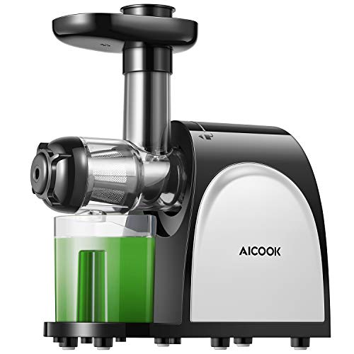 Juicer Machines, Aicook Slow Masticating Juicer Extractor with Quiet Motor and Reverse Function, Easy to Clean, Higher Juicer Yield and Drier Pulp, BPA-Free
