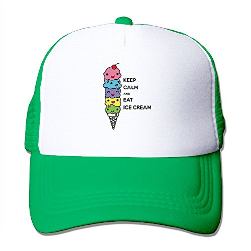 Keep Calm and Eat Ice Cream Fashion Baseball Cap For Men and Women Adjustable Mesh Trucker Hat