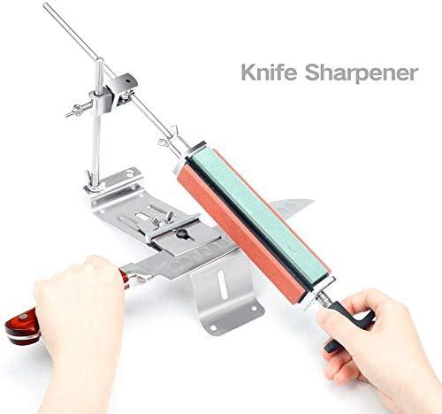 ナイフ削り、プロフェッショナルキッチンシャープツール角度と4枚のストーンシャープストーンズ、簡単に手動でグラインド、ノンスリップグリップに、安全なシャープは、ブラントナイフシャープを復元することができます