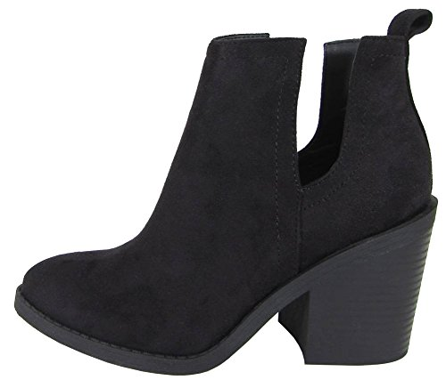 Soda Women's Cut Out Side Closed Toe Chunky Stacked Block Heel Ankle Bootie (8.5 B(M) US, Black Imsu)