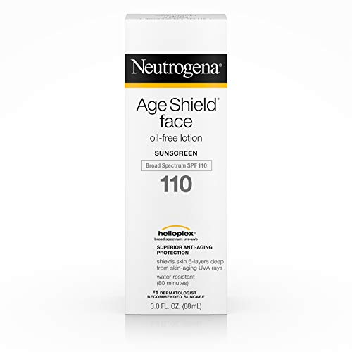 (Neutrogena Age Shield Face Lotion Sunscreen with Broad Spectrum SPF 110, Oil-Free & Non-Comedogenic Moisturizing Sunscreen to Prevent Signs of Aging, 3 Fl. Oz (Pack of 1))