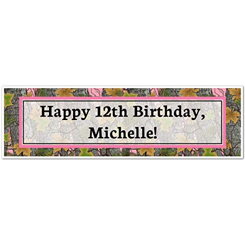 Moxzie Pink Camo 5 Ft. Large Personalized Banner