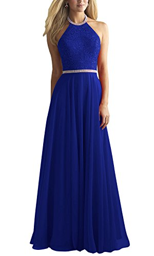 Royal Blue Halter Prom Dresses Ball Gown