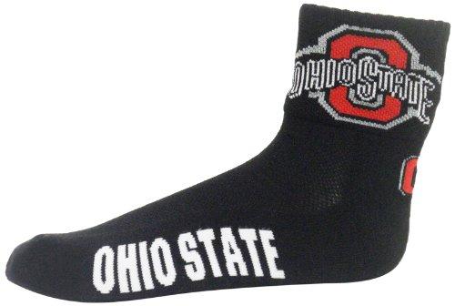 NCAA Ohio State Buckeyes Men's Quarter Socks, Black/Scarlet/White/Gray Logo Sport Quarter Sock