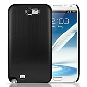 Brushed Aluminium Case for Samsung Galaxy Note 2 II Cover Hard Back Shell - Black