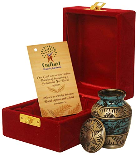 Crafkart Mother's Day Sale on Pet Cremation Urn for Pet Ashes Blue & Copper Pet Cremation Urn Memorials urn with a Beautiful Red Keepsake Box - Container Jar Pot | Metal Brass Burial Urn | Dog Cat Urn ()