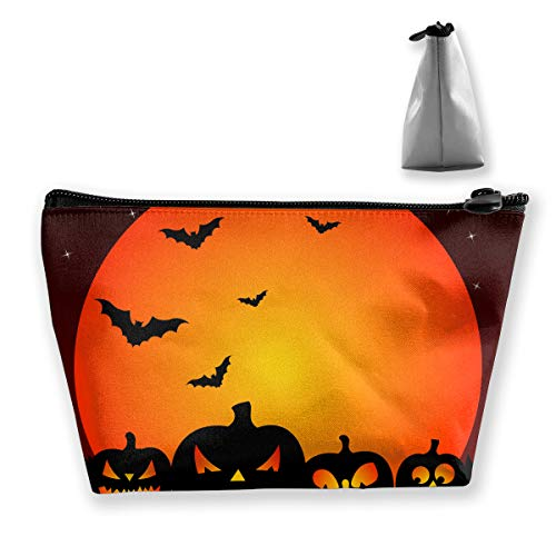 Halloween Bats and Pumpkin Cosmetic Tote Bag Carry Case - Large Trapezoidal Storage Pouch - Travel Accessories Portable Make-up Bag -