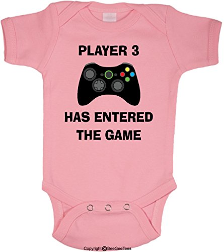 BeeGeeTees Player 3 Has Entered The Game Funny Baby Onesie (Boys and Girls) (6 Months, Pink)