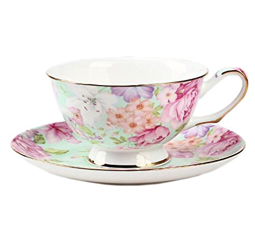 ufengke European Bone China Coffee Cup, Afternoon Tea Coffee Cup With Saucer, Ceramic Tea Sets For Gift, Hand-Painted Flower, (Hand Painted China Cup)