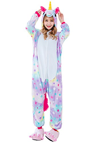 JYUAN Animal Onesie Pajamas Unicorn Kigurumi Cosplay Costume Cute (Unicorn Onesie Halloween Costume)
