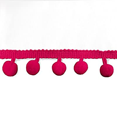 DriftAway Pom Pom Ruffle Window Curtain Rod Pocket 1 Panel 52 Inch by 84 Inch Plus 2 Inch Header Pink: Home & Kitchen