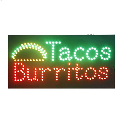 LED Tacos Tortas Burritos Open Light Sign Super Bright Electric Advertising Display Board for Message Business Shop Store Window Bedroom 24 x 12 inches ()