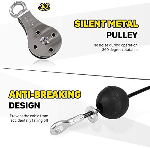 Spiido Pulley Cable Machine Attachment System with Loading Pin Arm Muscle Strength Fitness Equipment Home Gym Workout Equipment for Pulldowns, Biceps Curl, Triceps Extensions