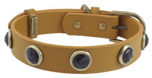 Faceted Amethyst Yellow Leather Dog Collar - Small
