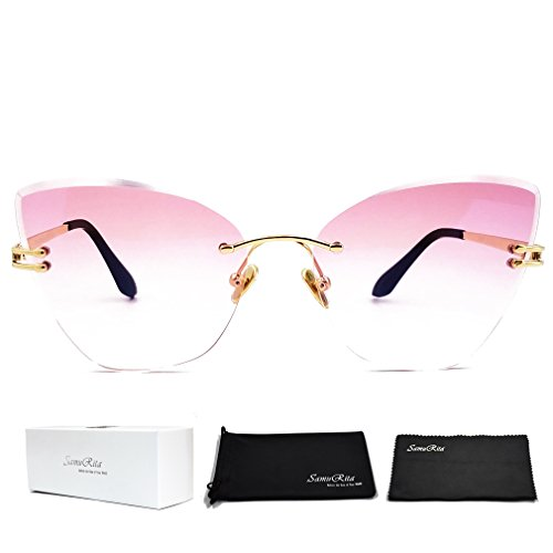 SamuRita Gradient Tinted Color Lenses Rimless Cateye - Gradient Pink