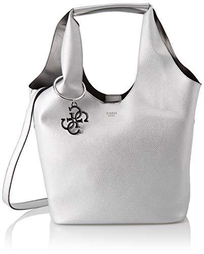 Guess Flora, Women's Shoulder Bag, Silver (Silver/Sil), 45x31x16.5 cm (W x H L)