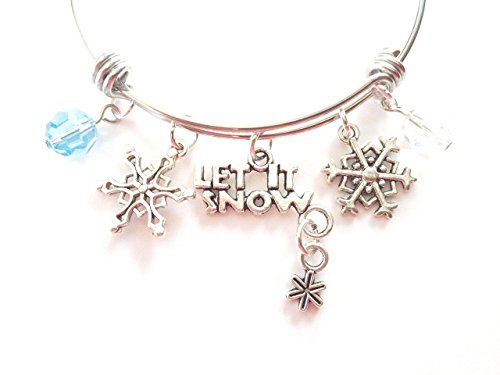 Let It Snow / snowflake themed personalized bangle bracelet. Antique silver charms and genuine Swarovski elements.