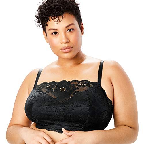 Comfort Choice Women's Plus Size Lace Wireless Cami Bra - Black, 52 G
